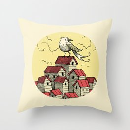The BIG BIRD In The small town Throw Pillow