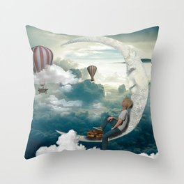 The boy and moon Throw Pillow