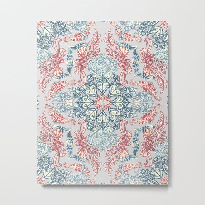 Vintage Fancy - a Pattern in Pale Blue, Navy & Deep Rose Metal Print