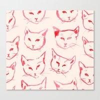 novelty Canvas Prints featuring Red Cat by leah reena goren