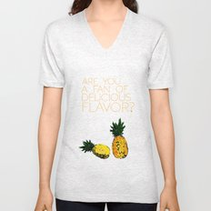 are you a fan of delicious flavor? .. psych tv show.. funny quote.. pineapple Unisex V-Neck