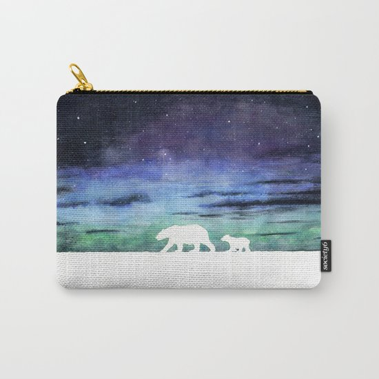 Aurora borealis and polar bears (white version) Carry-All Pouch