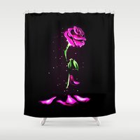 marauders Shower Curtains featuring Beauty and The Beast Rose Flower by DavinciArt