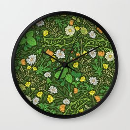 Yellow buttercup and daisies with wild strawberries on grass Wall Clock