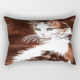 Elegant Long Haired Bi-Colored Cat Rectangular Pillow