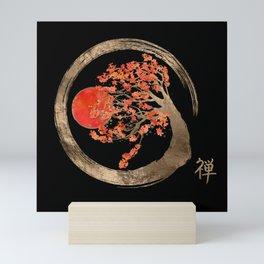Zen Enso Circle and Golden Sakura Tree Mini Art Print