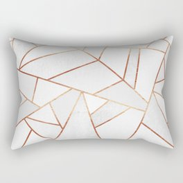 White Stone & Copper Lines Rectangular Pillow