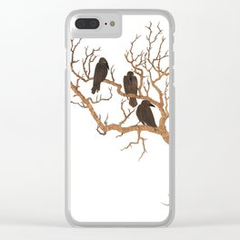 Black Birds on Brown Branches Clusters Jean Dunand Art Deco Clear iPhone Case
