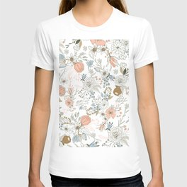 Abstract modern coral white pastel rustic floral T-shirt