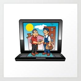 contractor handshake on laptop Art Print