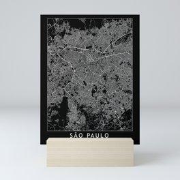 Sao Paulo Black Map Mini Art Print