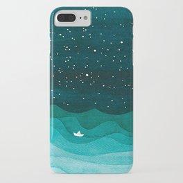 Starry Ocean, teal sailboat watercolor sea waves night iPhone Case