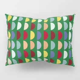 Forest Green Semi Circles Pattern Moss  Pillow Sham