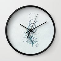 peacock feather Wall Clocks featuring Peacock Feather by LouJah
