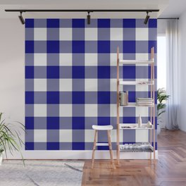 Gingham (Navy Blue/White) Wall Mural