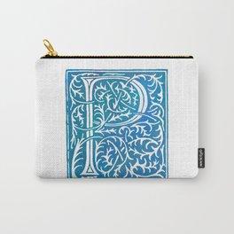 Letter P Antique Floral Letterpress Carry-All Pouch