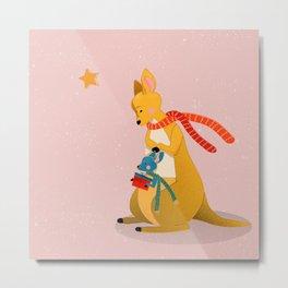 Baby Kangaroo first Christmas Metal Print