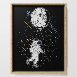 Astronaut With Moon Balloon Serving Tray
