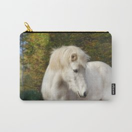 White horse in the autumn forest Carry-All Pouch