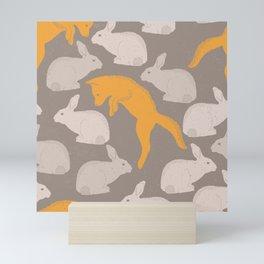 Hopping Fox And Rabbit Pattern Mini Art Print