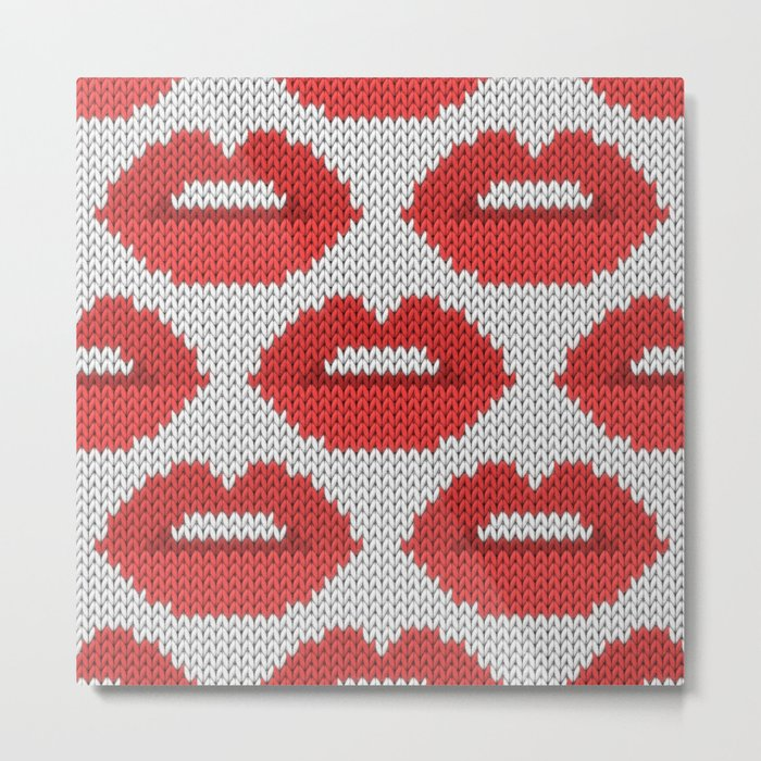 Lips pattern - white Metal Print