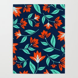 Japanese Floral Print - Red and Navy Blue Poster