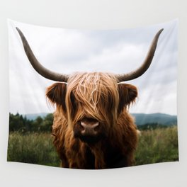 Scottish Highland Cattle in Scotland Portrait II Wall Tapestry