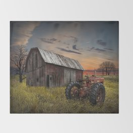 Abandoned Farmall Tractor and Barn Throw Blanket