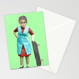 Skateboarding Granny! Quirky Skateboard Design! Stationery Cards