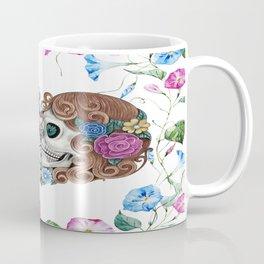 Floral Kissing Skulls Coffee Mug