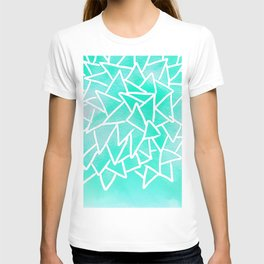 Blue turquoise watercolor geometric triangles T-shirt