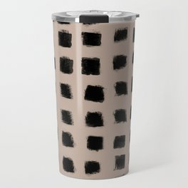 Polka Strokes - Black on Nude Travel Mug