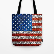 American Flag - USA Stone Rock'd Art United States Of America Tote Bag
