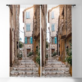 French town Alley - Small rural Village in the Provence - Medittereanean summer vibe - Bricks and houses Blackout Curtain