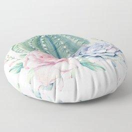 Cactus Rose Succulents Floor Pillow