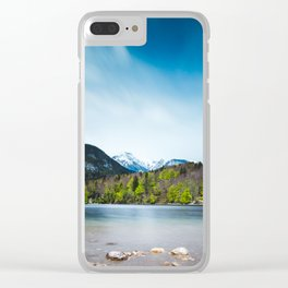 Lake Bohinj with Alps in Slovenia Clear iPhone Case