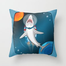 shark in space Throw Pillow