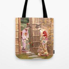 Japanese women walking on stepping stones Tote Bag