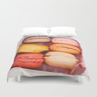 macarons Duvet Covers featuring Macarons by Amanda Lily