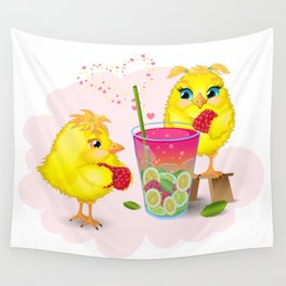 Chickens are preparing a magic elixir. Wall Tapestry
