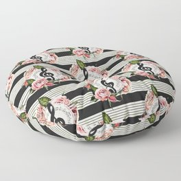 Musical Treble Clef with Watercolor Roses Pattern Floor Pillow