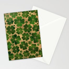 Lucky Shamrock Four-leaf Clover Pattern Watercolor Stationery Cards