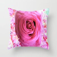 shabby chic Throw Pillows featuring Shabby Chic Pink Rose by Saundra Myles