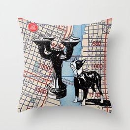 Benson Bubbler drinking fountain, S.W. Broadway and Oak Street, You Are Here, Portland. Throw Pillow