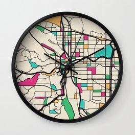 Colorful City Maps: Portland, Oregon Wall Clock