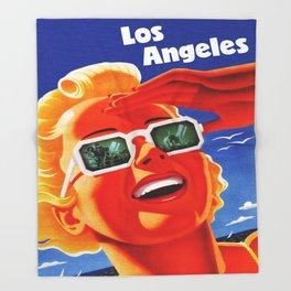 Retro Los Angeles California Travel Poster Throw Blanket