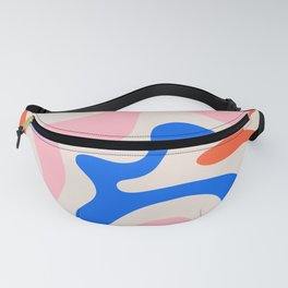 Retro Liquid Swirl Abstract Pattern Square Pink, Orange, and Royal Blue Fanny Pack