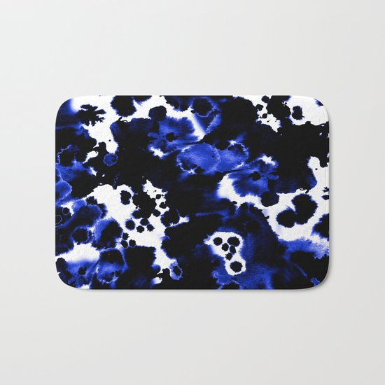 Watercolor indigo india ink boho girly trendy abstract painting brushstrokes dorm college painterly Bath Mat