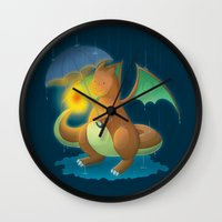 charizard Wall Clocks featuring Charizard by Jeanette Aga