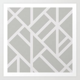 Modern Gray and White Abstract Stripes Art Print